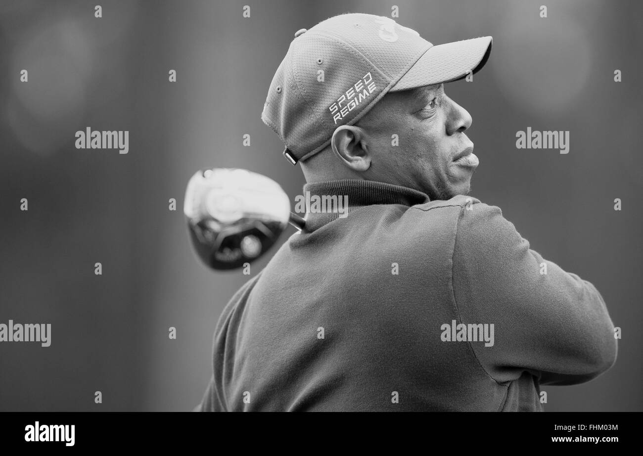 Former professional footballer, Ian Wright, tees-off in the Pro-Am ahead of the BMW PGA Championship at Wentworth, - Stock Image
