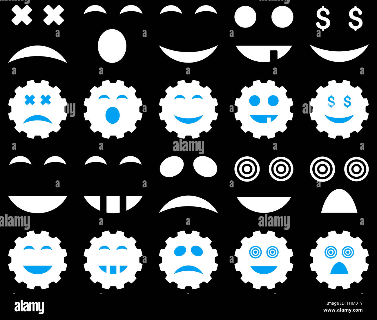 Tool, gear, smile, emotion icons - Stock Image