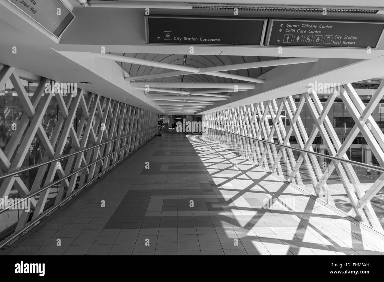 Pedestrian arcade connecting Perth train station with the city center. Perth, Western Australia, Australia. - Stock Image