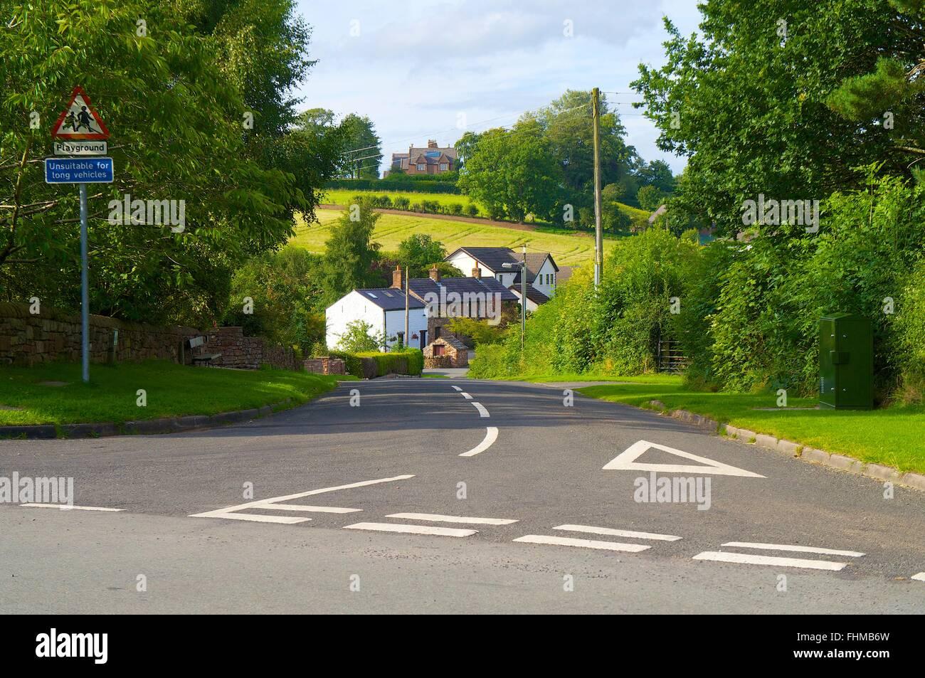Cumbria. Rural road junction. - Stock Image