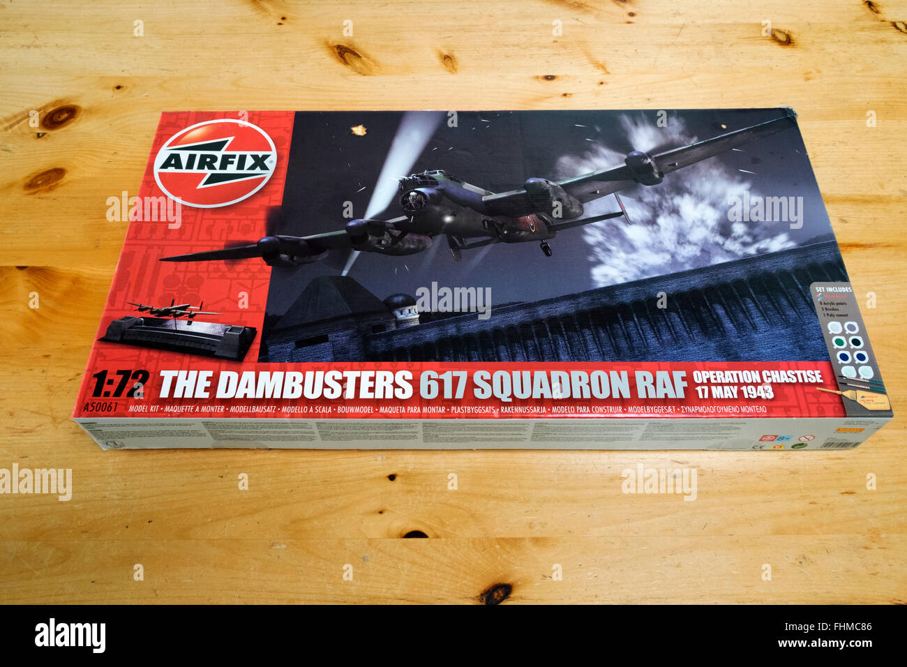 Airfix 1:72 scale model of a Lancaster heavy bomber of the Dambusters 617 Squadron - Stock Image