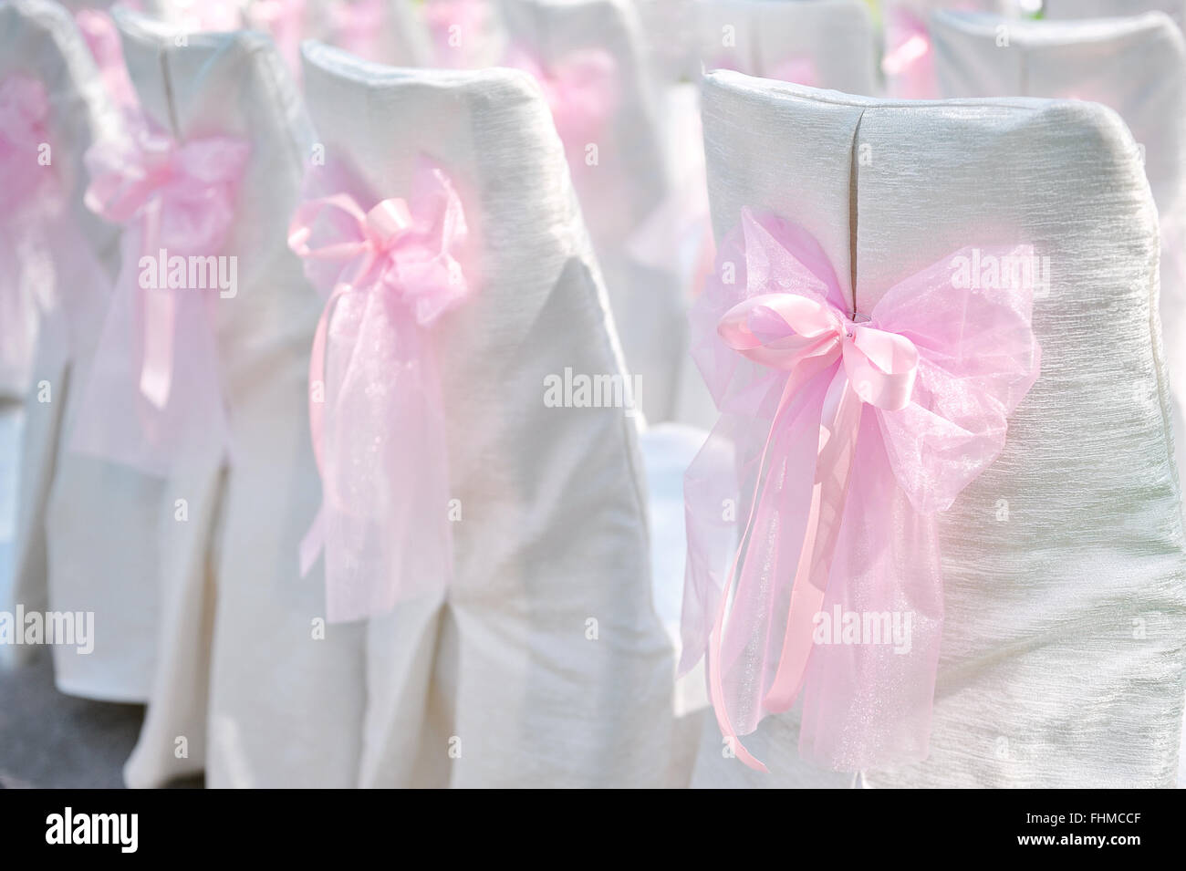 Decoration on wedding chairs pink bow & Decoration on wedding chairs pink bow Stock Photo: 96949791 - Alamy