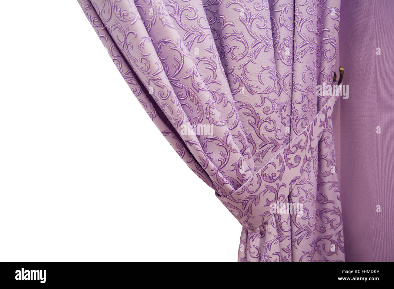 beautiful purple curtain in a classic style. isolated - Stock Image