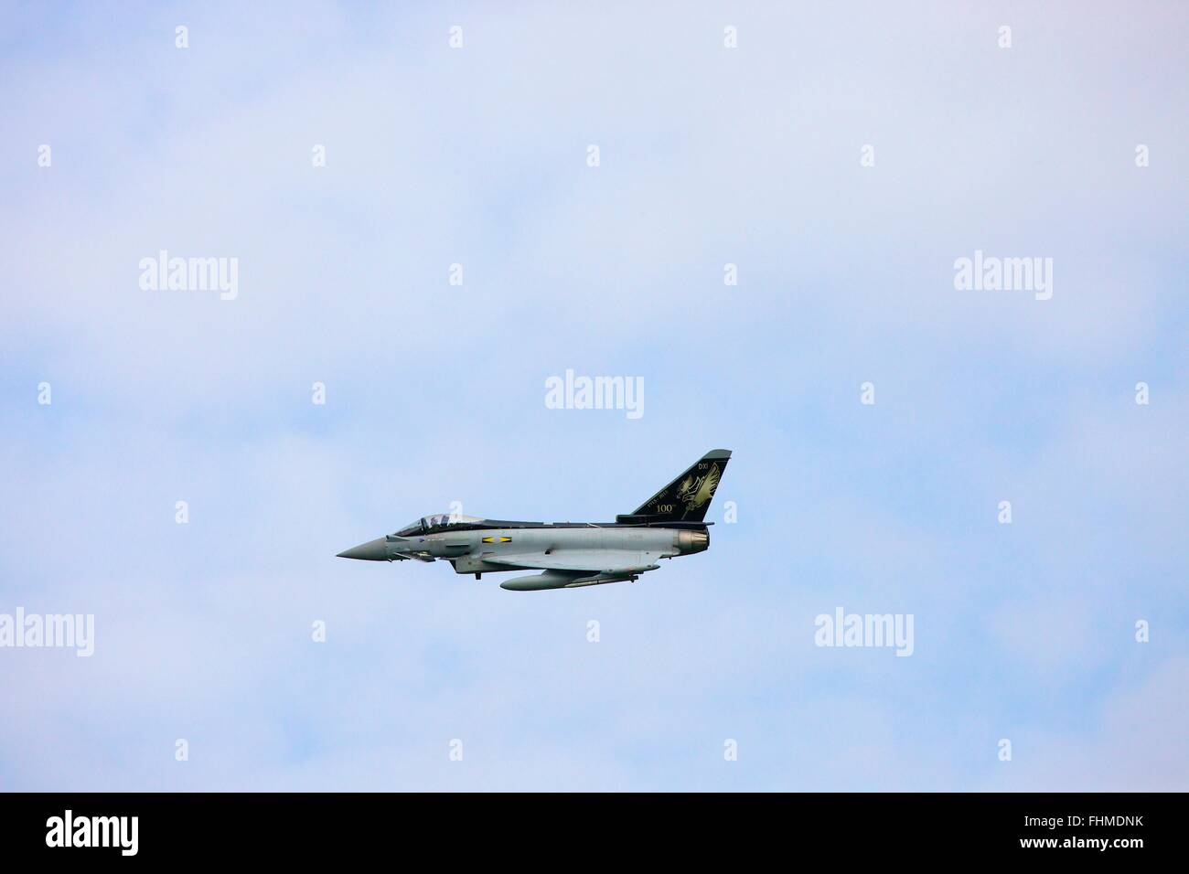 Bae/Eurofighter Typhoon. Multirole Fighter. ZJ925, XI(F) Squadron FGR4 100 year special. - Stock Image