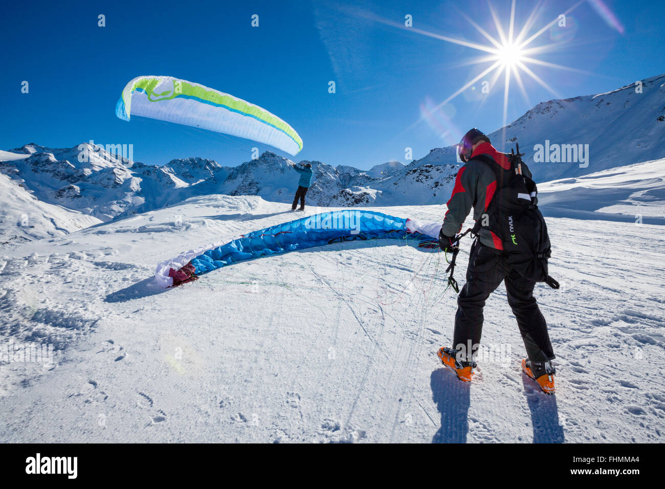 Groundhandling with the Paraglider, Sulden Skiing Area, South Tyrol, Italy Stock Photo