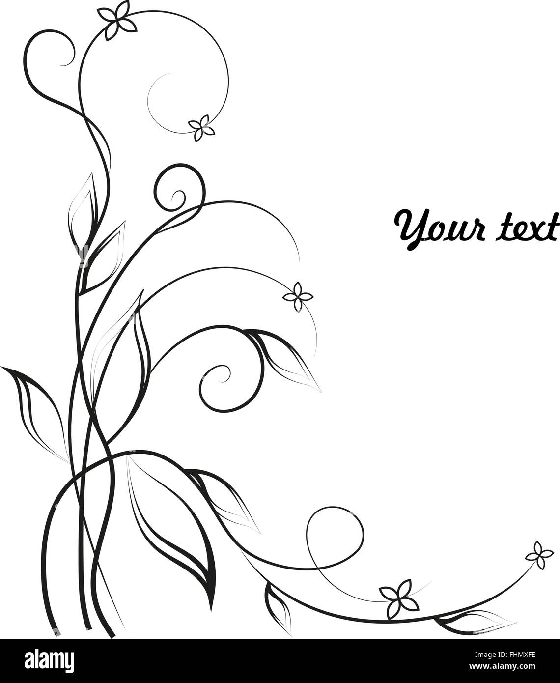 Simple Floral Background In Black And White Stock Vector Art