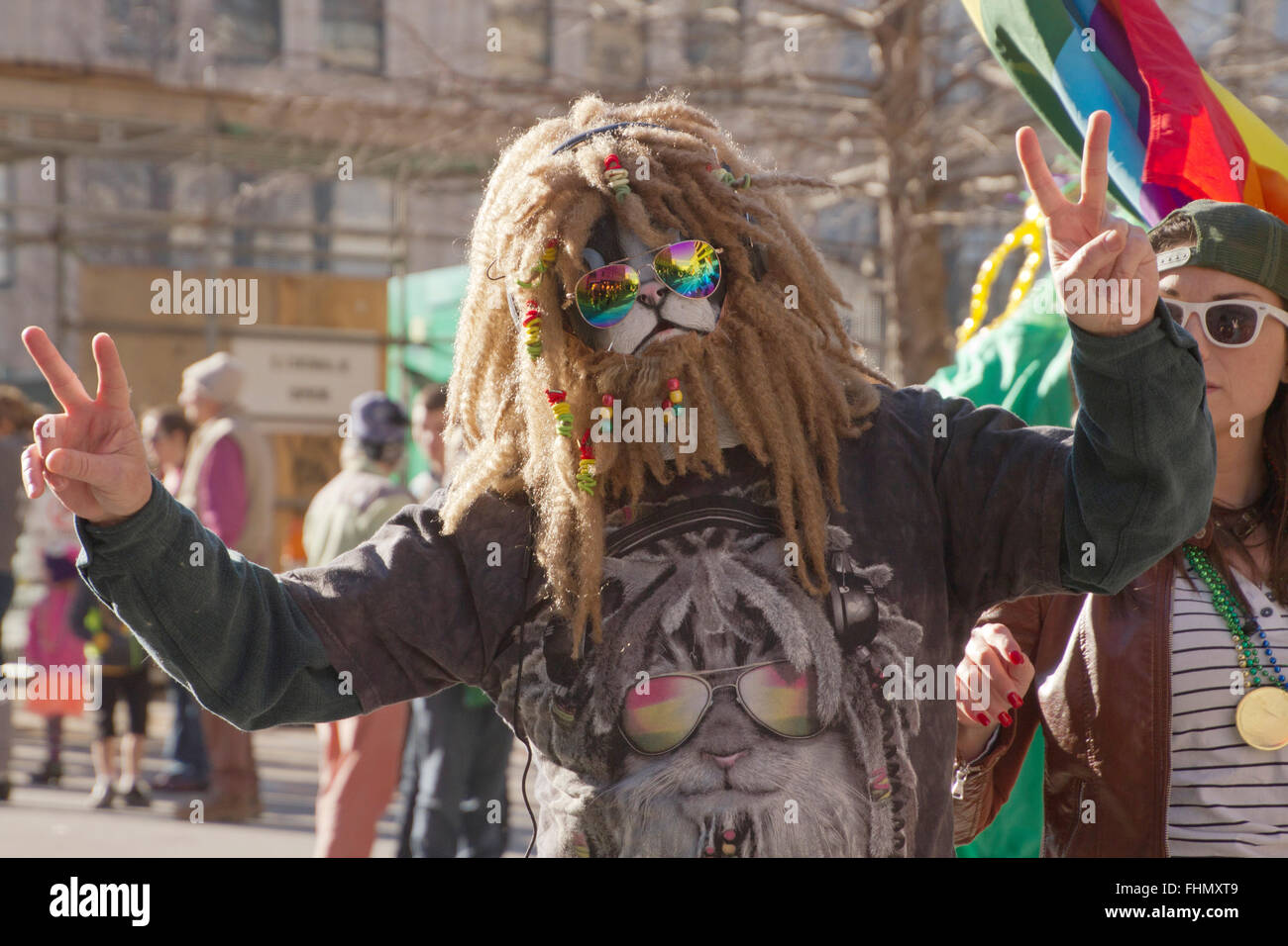 Asheville, North Carolina, USA - February 7, 2016: A hairy wookie like beast in a t-shirt with a picture of itself - Stock Image