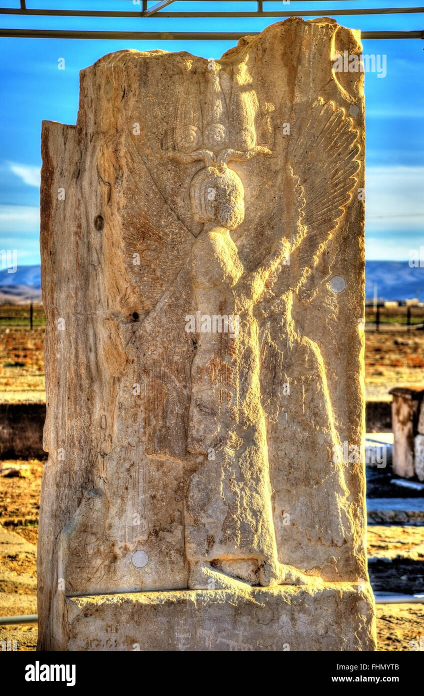 View of ancient persian carving in Pasargadae - Iran - Stock Image