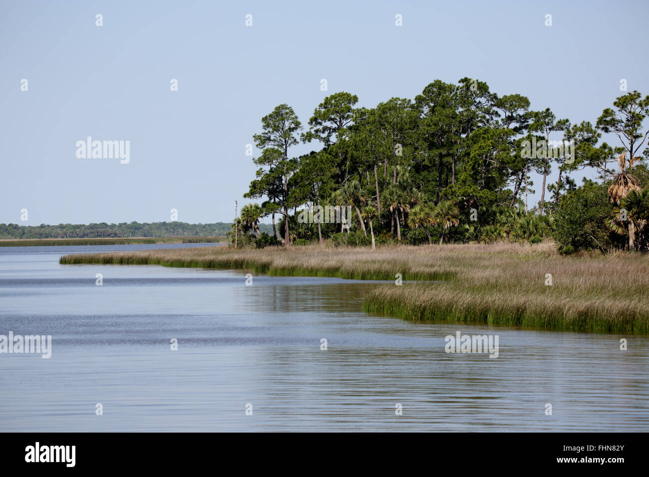 Apalachicola Bay Aquatic Preserve on a still day - Stock Image