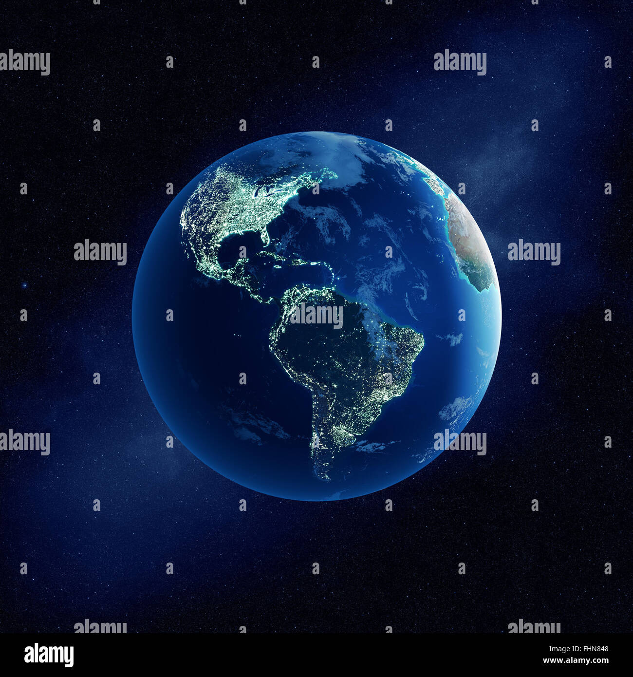 Earth with city lights at night in outer space with North and South America  (Elements of this  3D rendered image - Stock Image