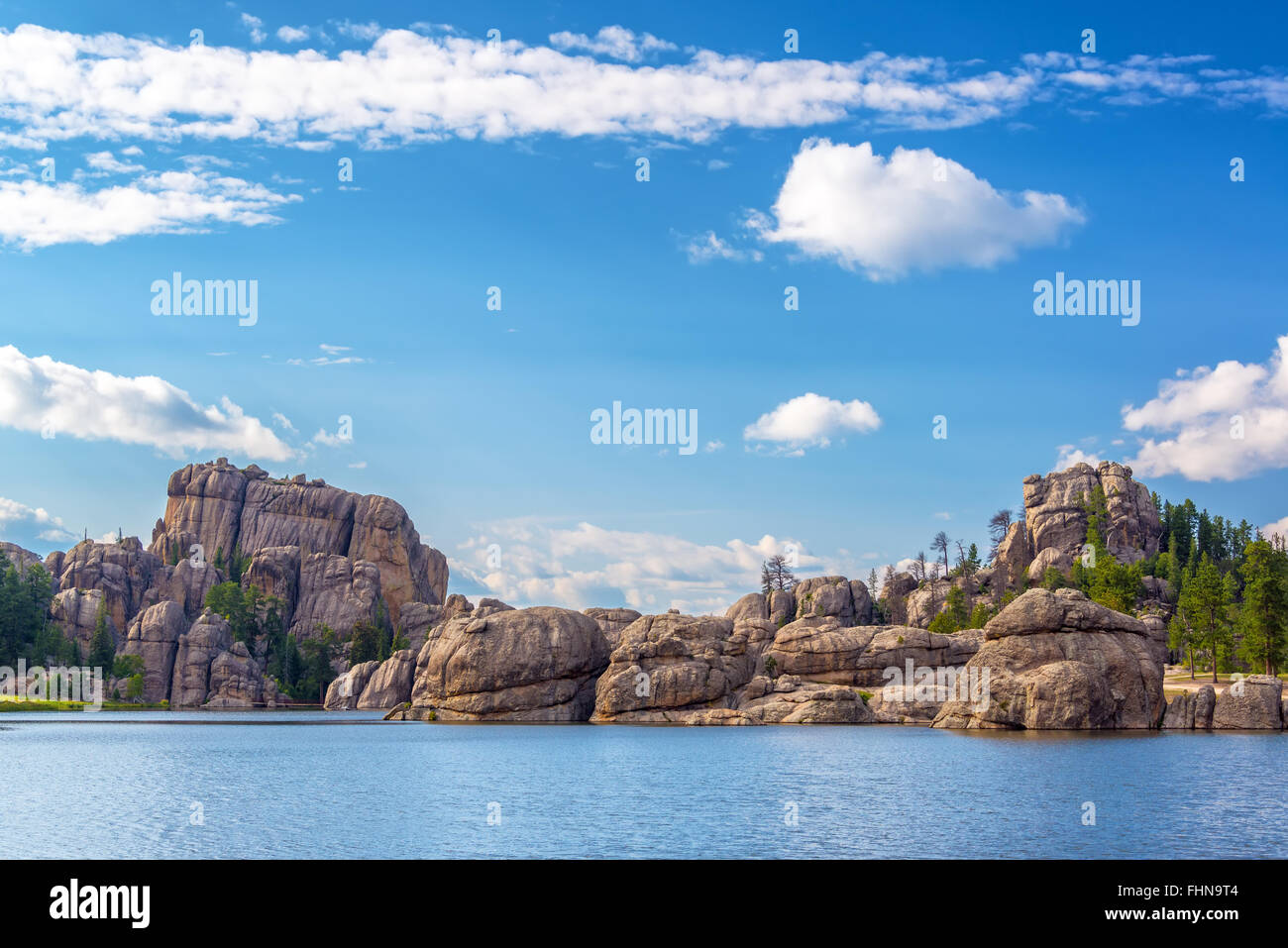 Beautiful rock formations at Sylvan Lake in Custer State Park - Stock Image