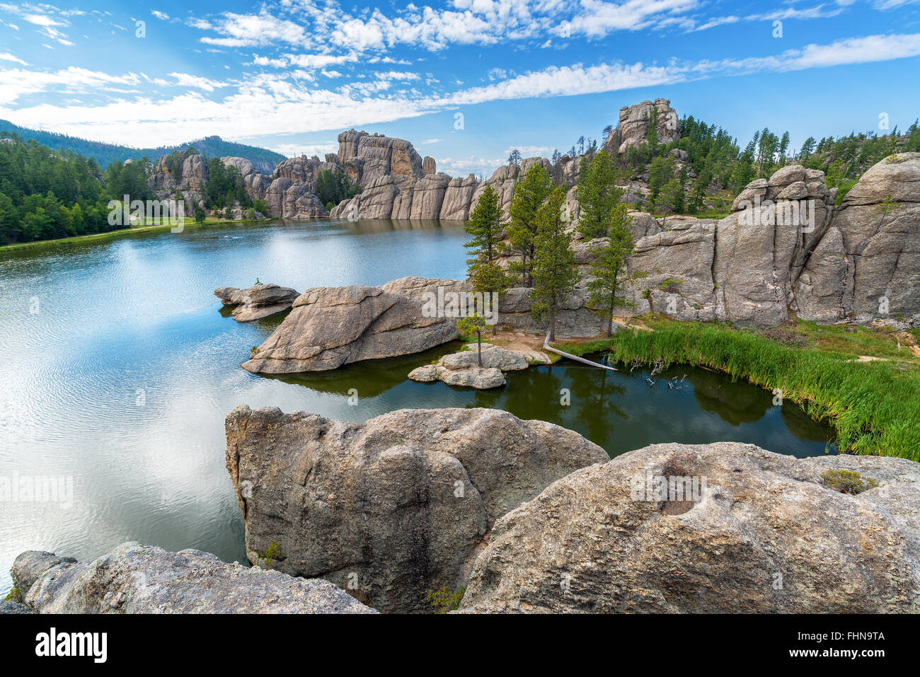 Beautiful Sylvan Lake in Custer State Park Stock Photo