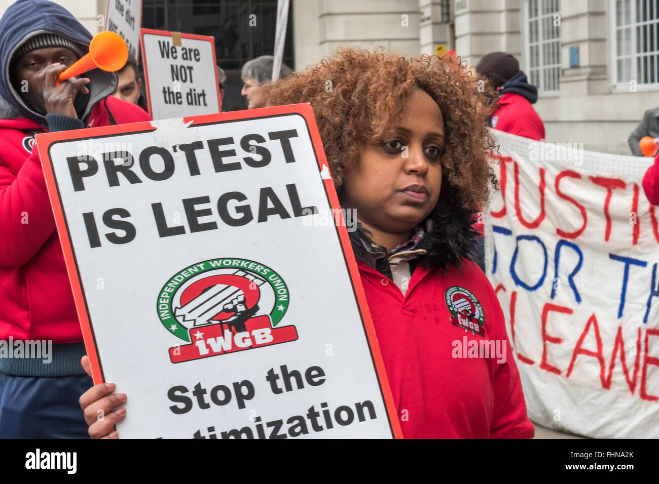 London, UK. 25th February, 2016. IWGB union rep Hanna Abebe at protest outside Bloomberg London calling for her - Stock Image