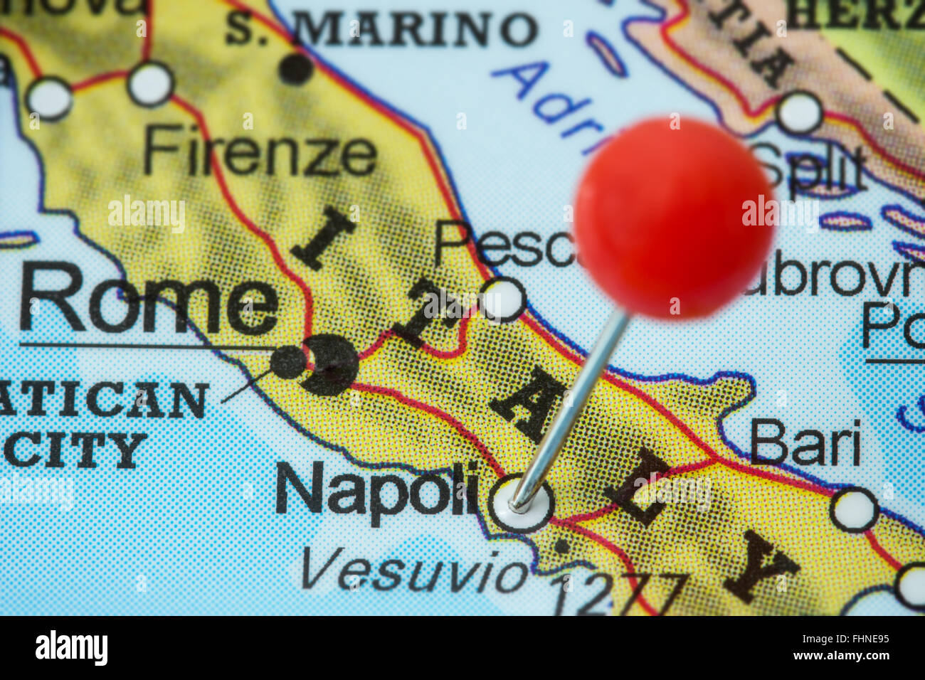 Close-up of a red pushpin in a map of Napoli (Naples), Italy Stock ...