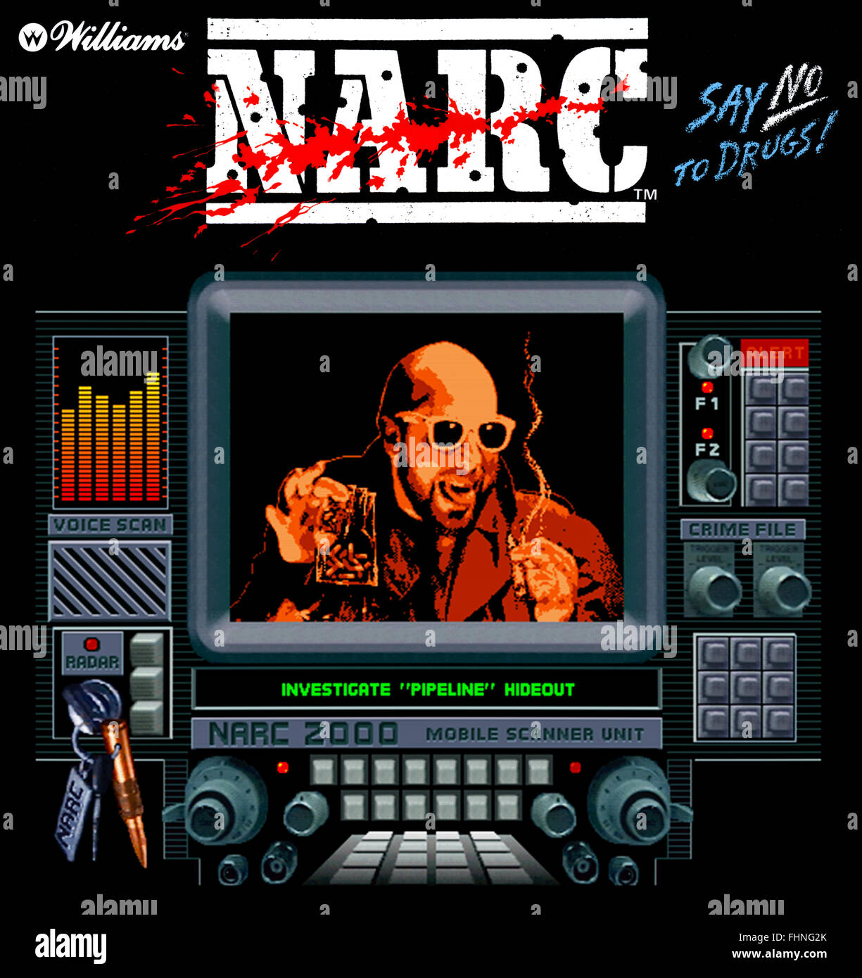 'Narc' arcade game produced by Williams in 1988 featuring the anti-drug slogan 'Say No to Drugs'. - Stock Image