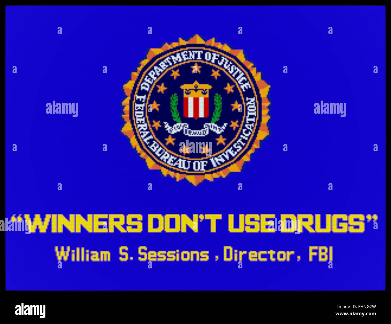 'Winners Don't Use Drugs' anti-drug splash screen message shown on coin-operated arcade machines during - Stock Image