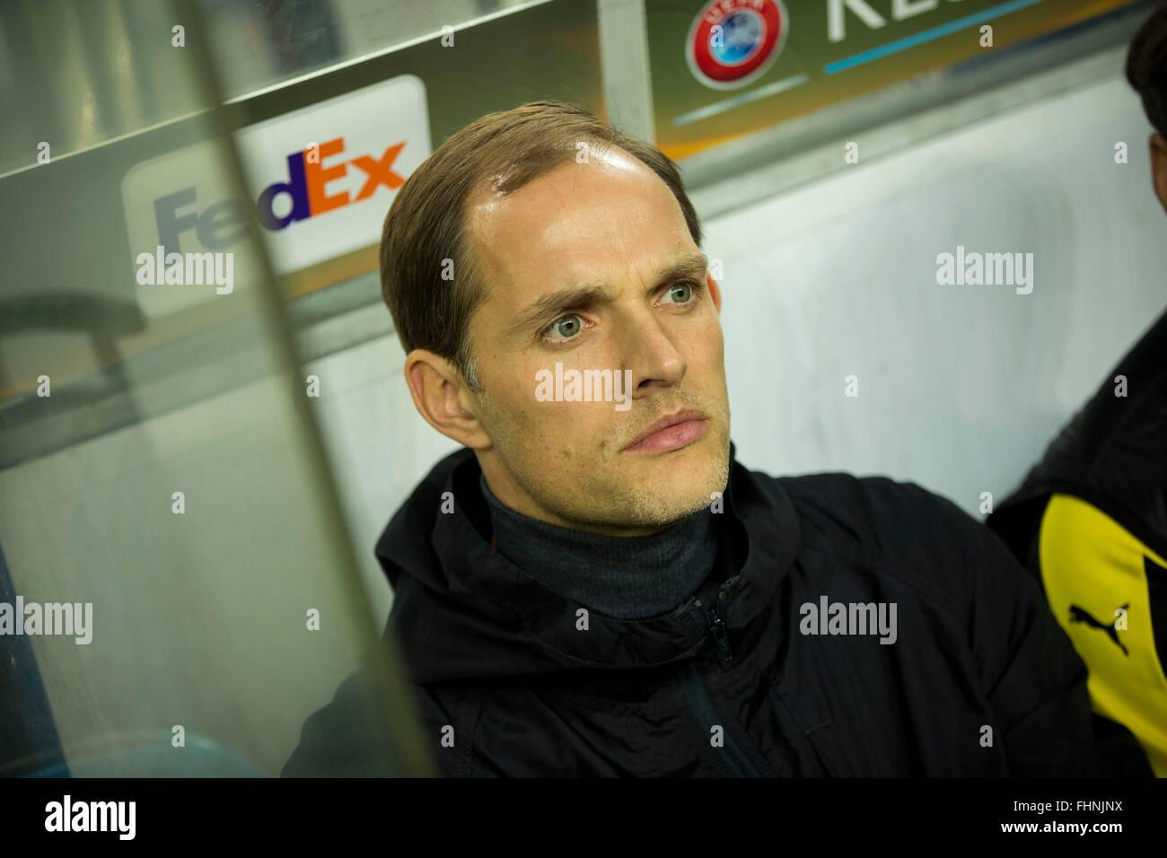 Porto, Portugal. 25th February, 2016. Dortmund's coach Thomas Tuchel during UEFA Europa League  2015/16 round - Stock Image