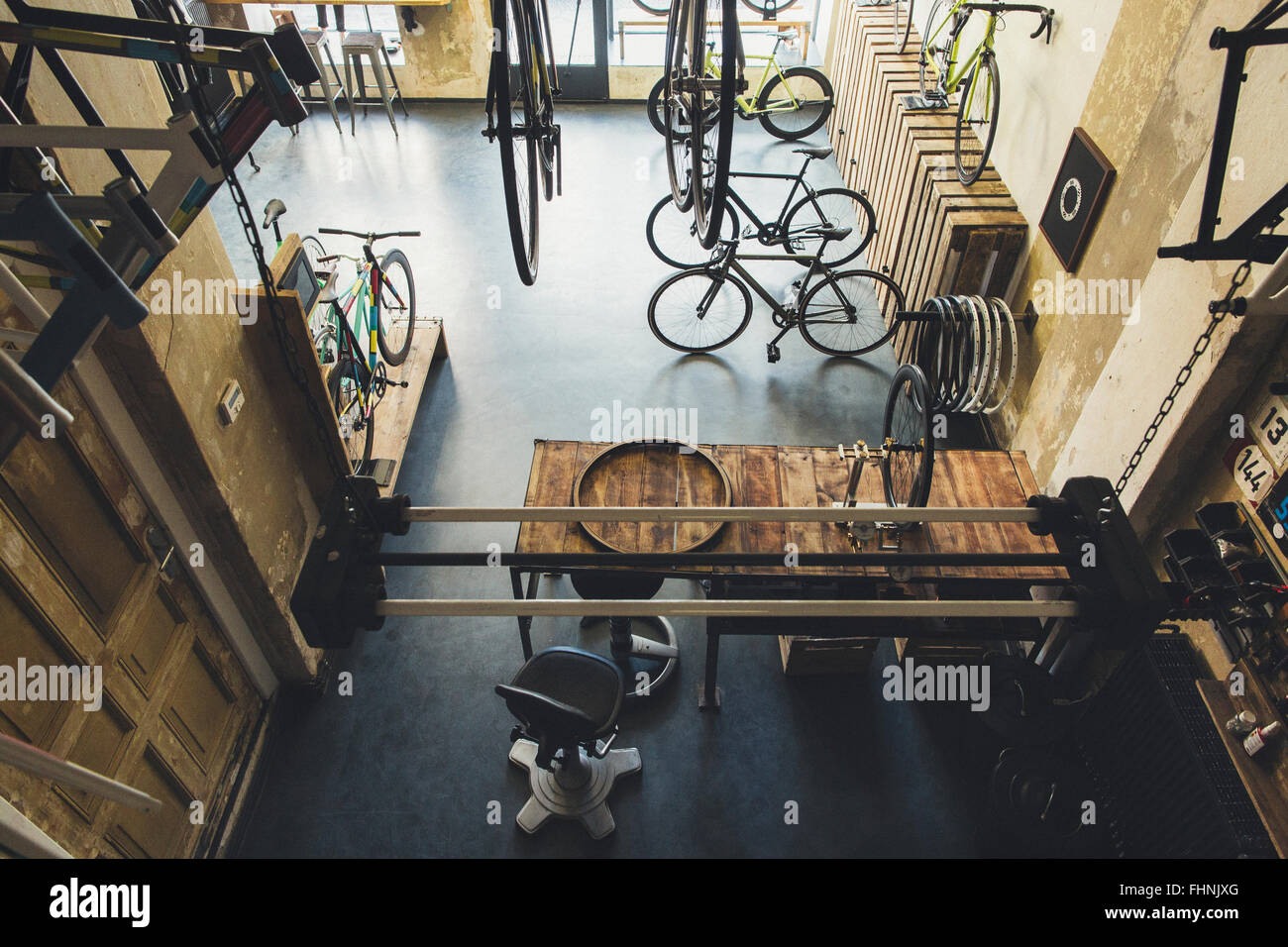 Assortment of bicycles in a custom-made bicycle store - Stock Image