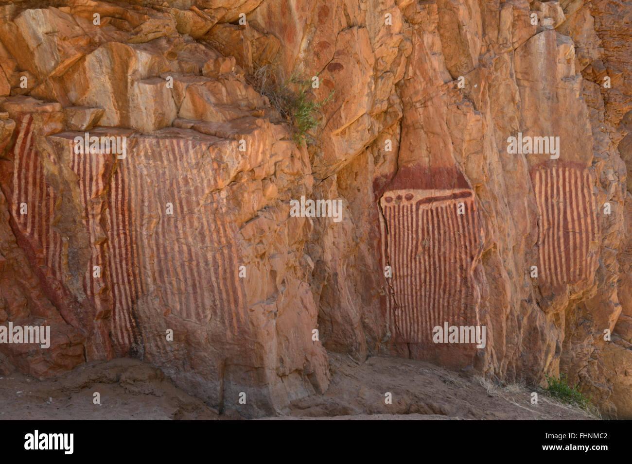 The Three Caterpillars, Aboriginal Rock Paintings, Emily Gap, MacDonnell Ranges, Northern Territory, Australia - Stock Image