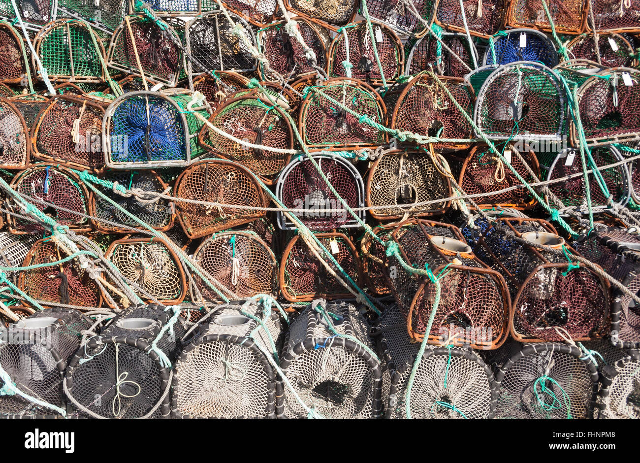 Stacked lobster and crab traps - Stock Image