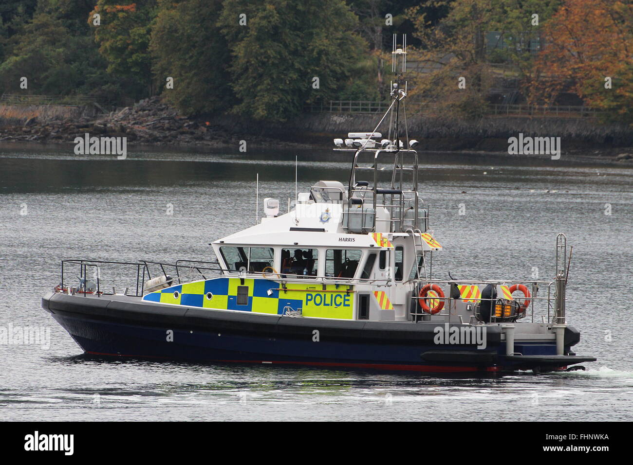 Harris, an Island-class Ministry of Defence Police launch, patrolling the Gare Loch during Exercise Joint Warrior - Stock Image