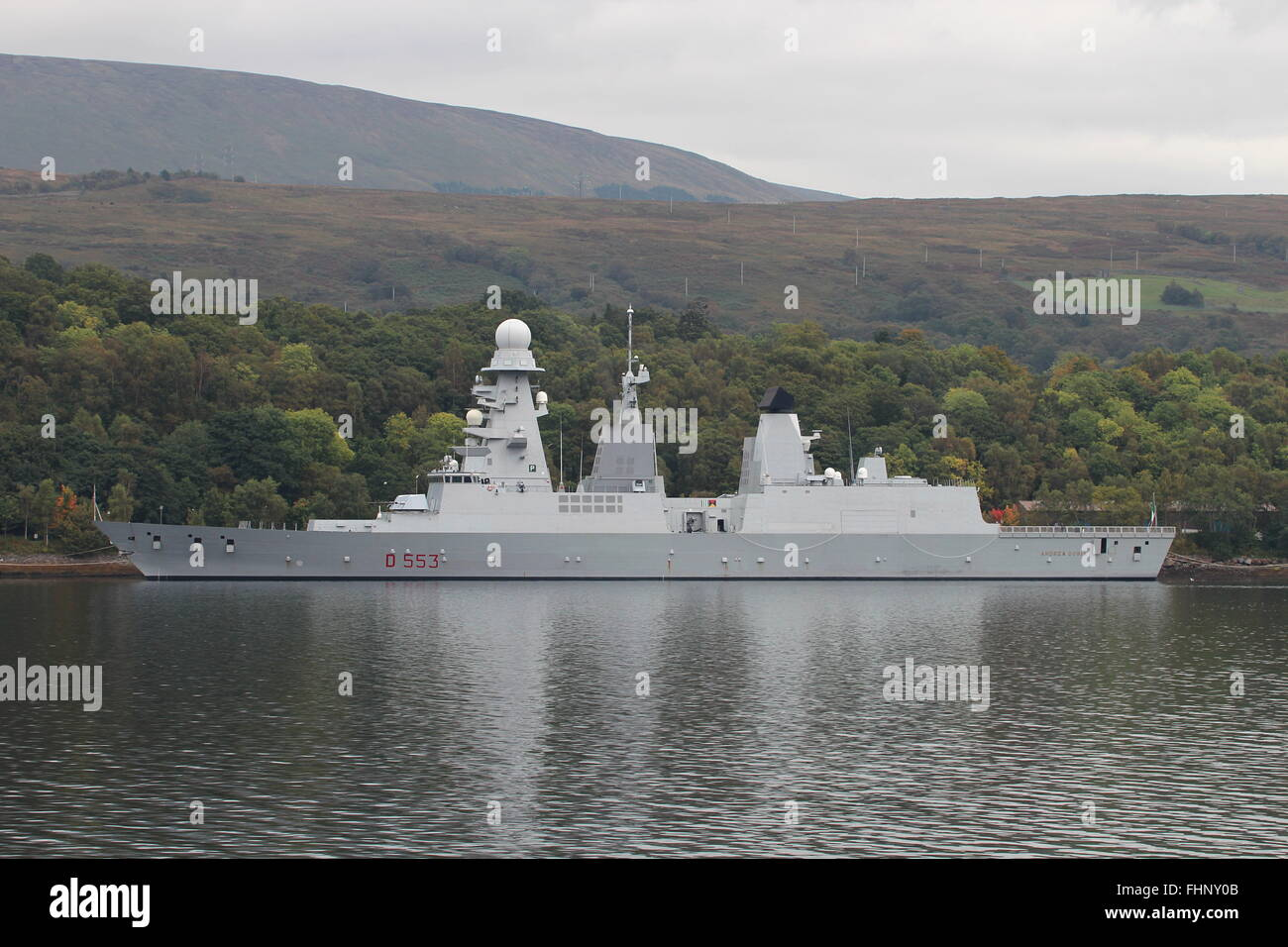 ITS Andrea Doria (D533), a Horizon-class destroyer of the Italian Navy, berthed at Faslane before Exercise Joint - Stock Image