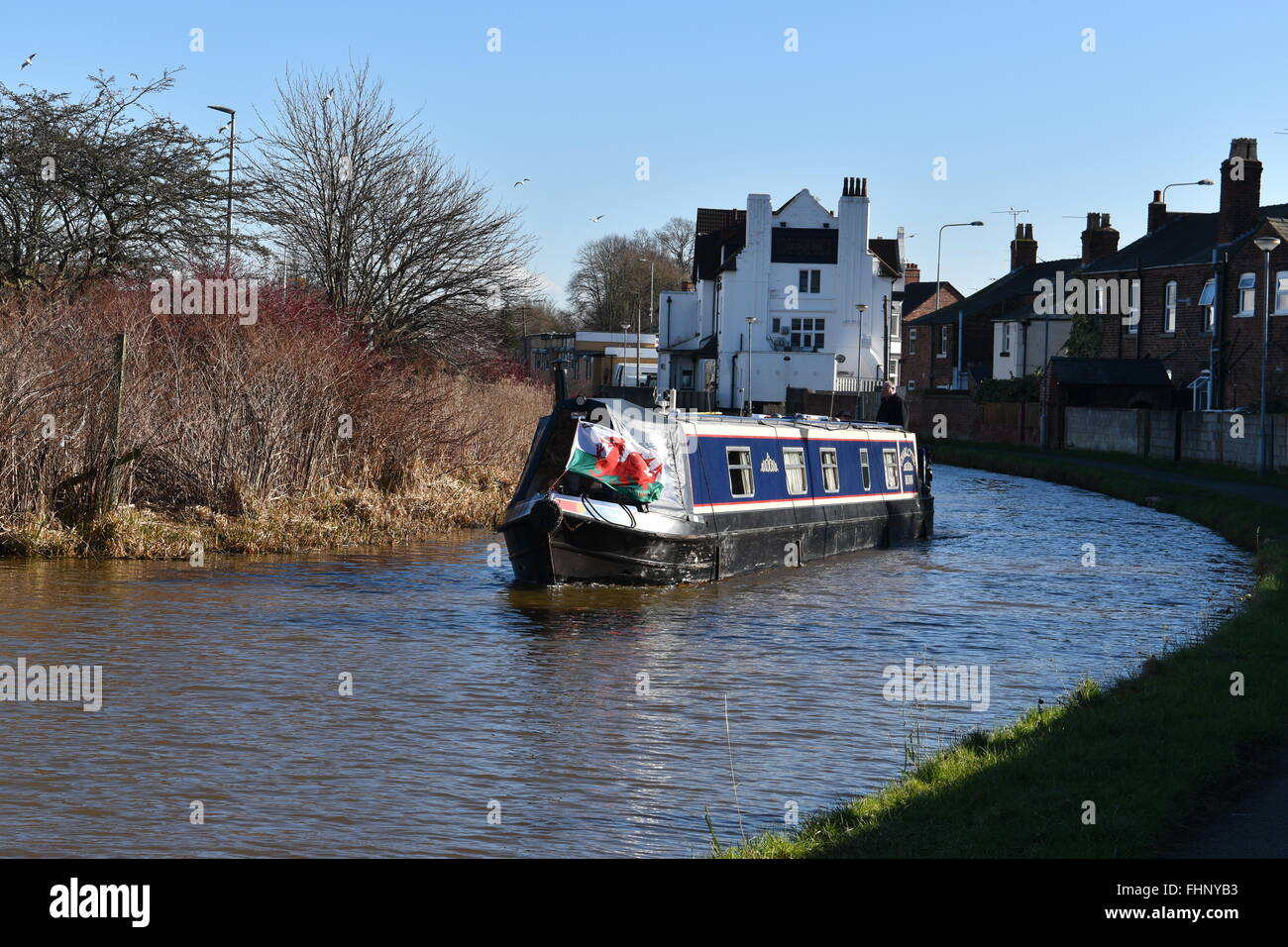 Narrowboat on the Chester Canal - Stock Image