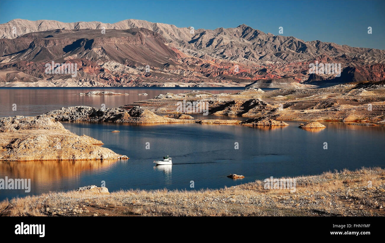 A powerboat cruising on Lake Mead Stock Photo