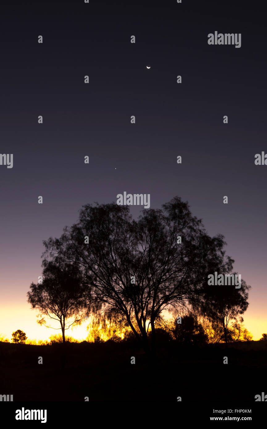 Sunset over the West MacDonnell Ranges, Northern Territory, Australia - Stock Image