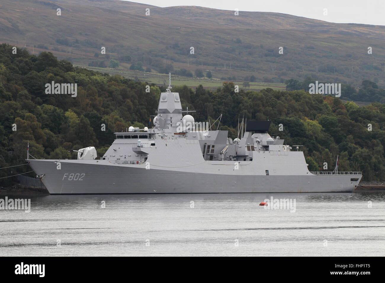 HNLMS De Zeven Provincien (F802), of the Royal Netherlands Navy, berthed at Faslane before Exercise Joint Warrior - Stock Image