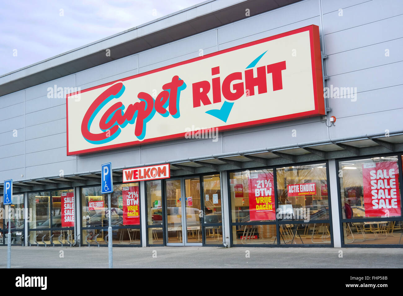 Branch of Carpetright retail chain who sells carpets, laminate flooring, vinyl flooring - Stock Image