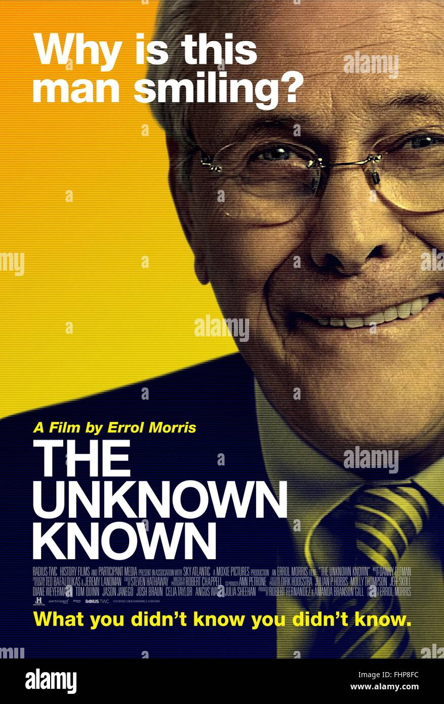 DONALD RUMSFELD POSTER THE UNKNOWN KNOWN (2013) - Stock Image