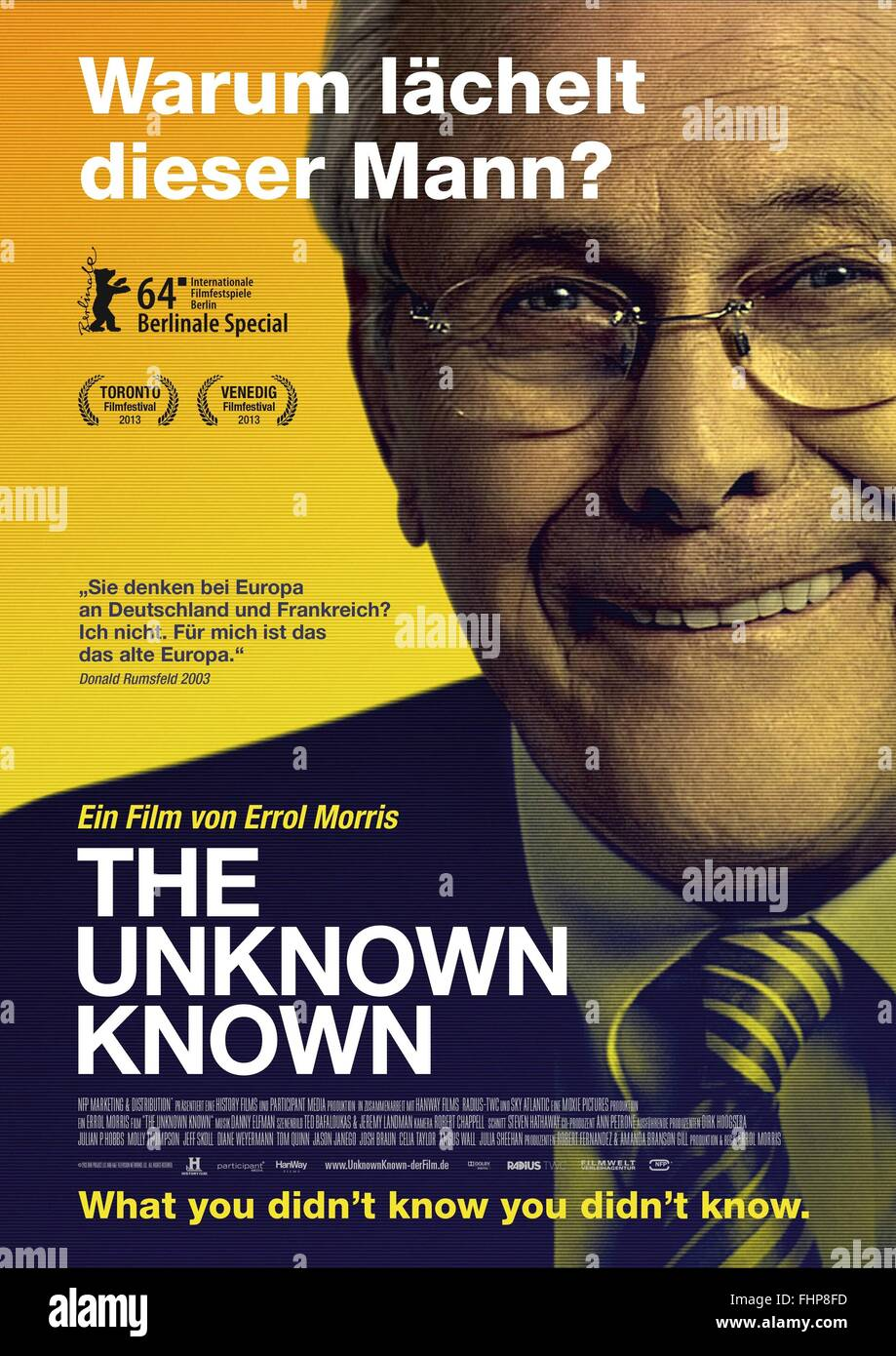 DONALD RUMSFELD GERMAN POSTER THE UNKNOWN KNOWN (2013) - Stock Image