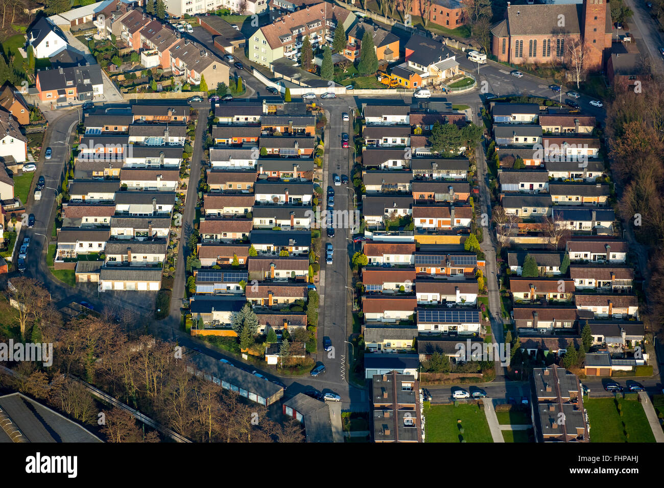 Aerial view,bungalows with tiled roofs on Detmold ring, cottage settlement, Wanne-Eickel, Herne,Ruhr area,North - Stock Image