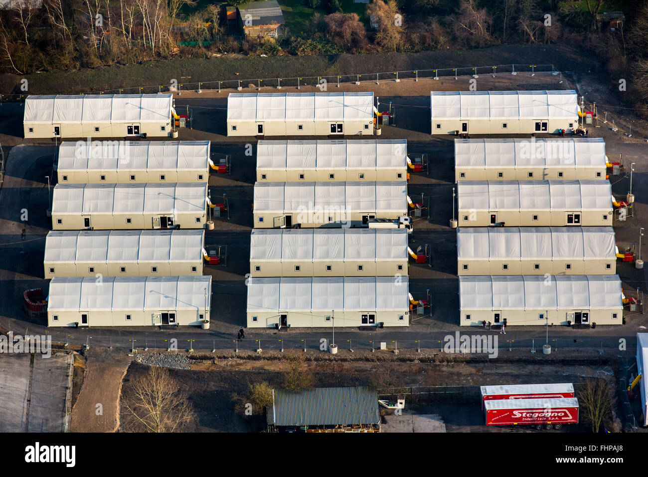 Aerial view, refugee tents, refugee camp, refugees housing, refugee crisis, Wanne-Eickel, Herne,Ruhr area,North - Stock Image