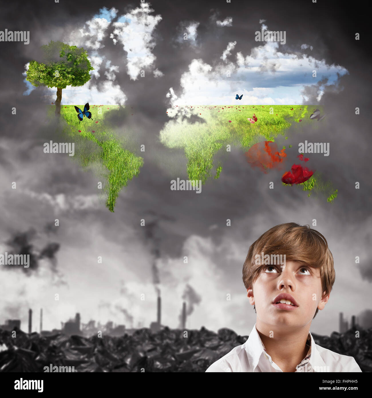 Child imagines a clean world - Stock Image