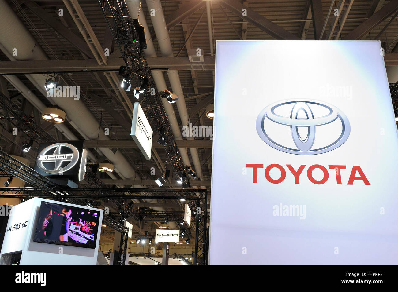 Signage of Toyota and SCION at the 2016 Toronto Autoshow at the Toronto Metro Convention Centre, Toronto, Ontario, - Stock Image