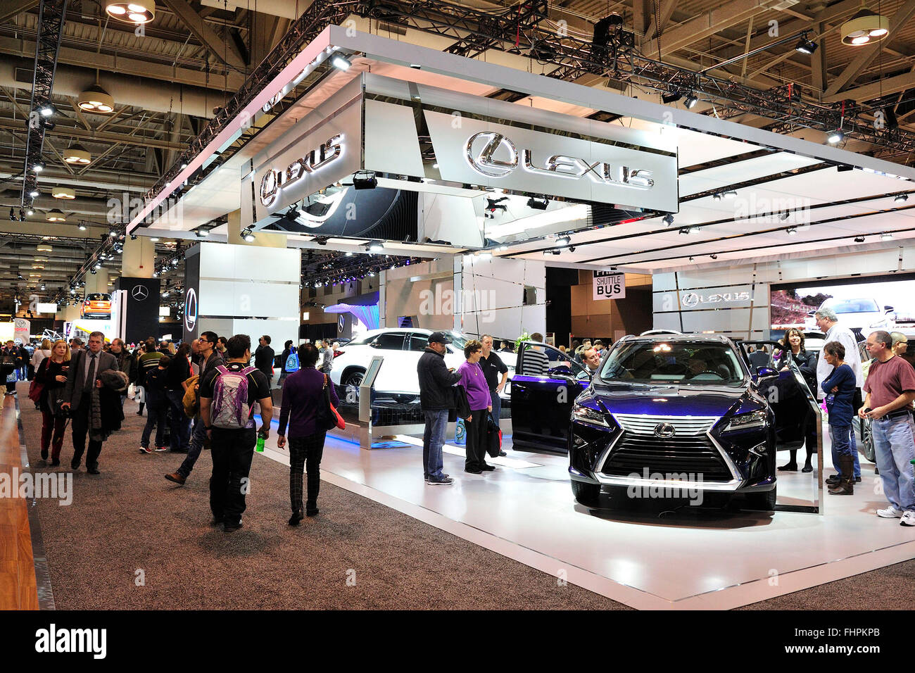 General view of the LEXUS booth at 2016 Toronto Autoshow at the Toronto Metro Convention Centre, Toronto, Ontario, - Stock Image