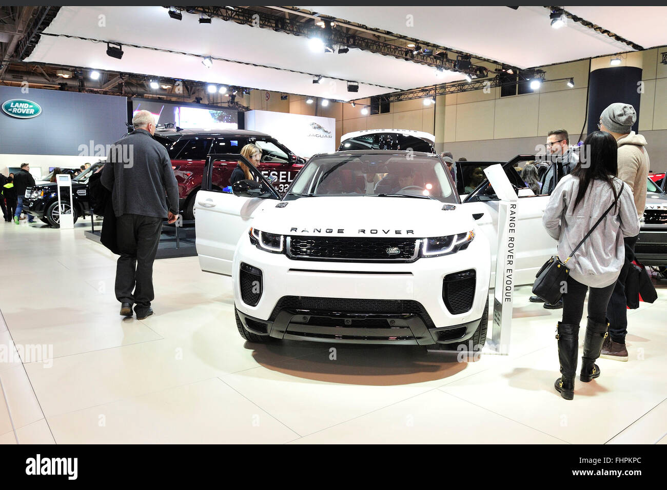 General view of the Landrover booth at the 2016 Toronto Autoshow at the Toronto Metro Convention Centre, Toronto, - Stock Image