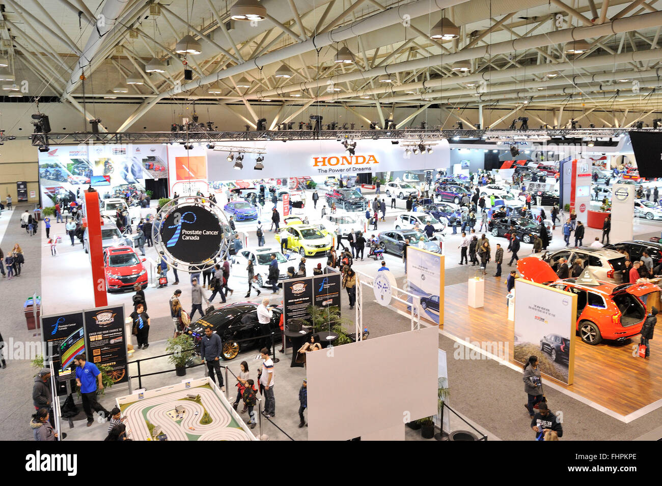 Aerial view of the 2016 Toronto Autoshow at the Toronto Metro Convention Centre, Toronto, Ontario, Canada. February - Stock Image