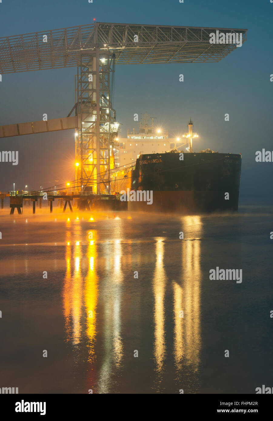 Temco Grain Elevator, loading grain into bulk carrier Grand Marcia, based in Hong Kong, Tacoma, Washington, night - Stock Image