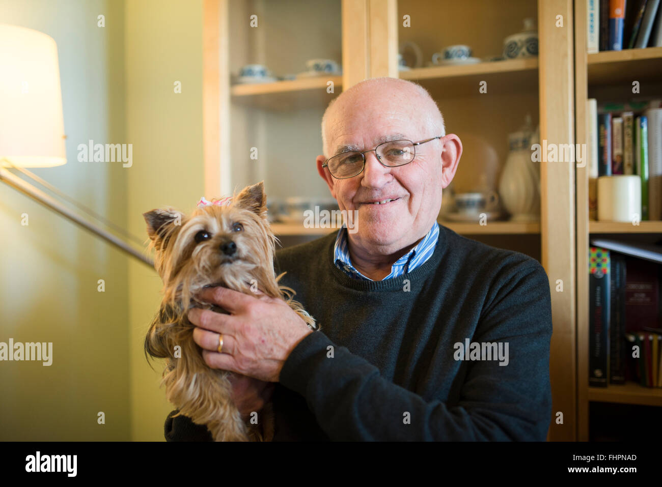 Portrait of senior man with his Yorkshire terrier at home Stock Photo
