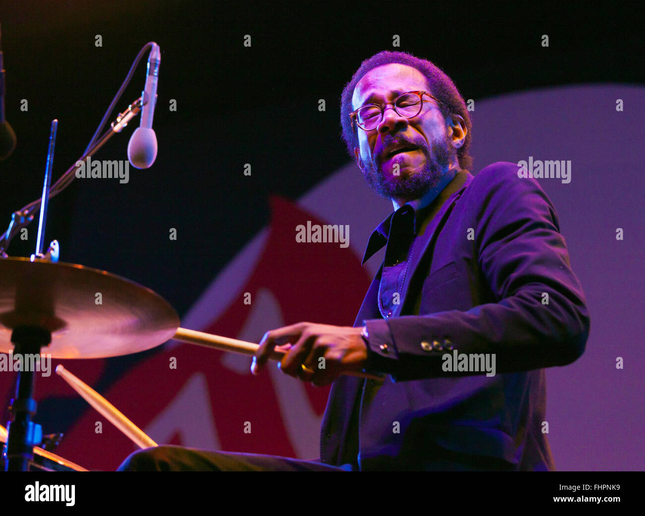 BRIAN BLADE on drums for Chic Corea performing at the 58th Monterey Jazz Festival - California - Stock Image