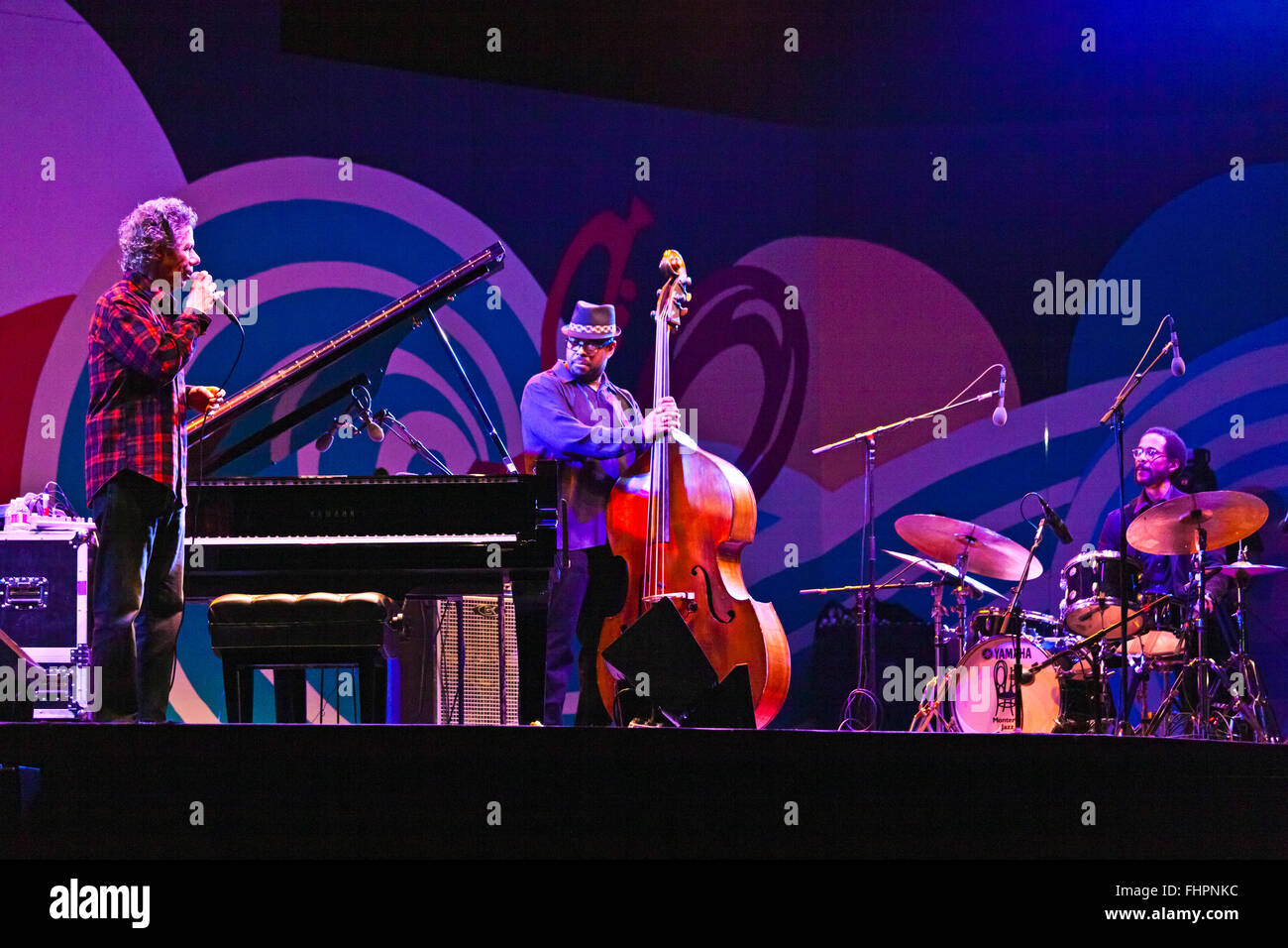 BRIAN BLADE on drums and CHRISTIAN MCBRIDE with Chic Corea performing at the 58th Monterey Jazz Festival - California - Stock Image