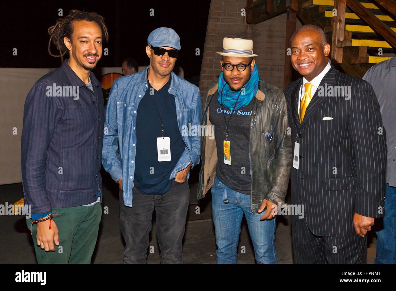 Musicians backstage at the Monterey Jazz Festival - California - Stock Image
