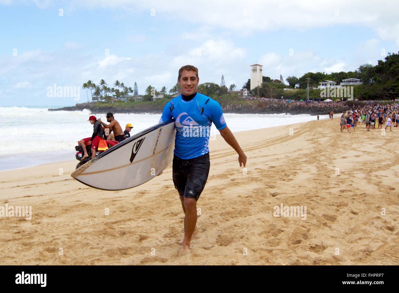 Haleiwa, Hawaii, USA. 25th February, 2016. February 25, 2016 - Koa Rothman smiles after his heat during the action - Stock Image