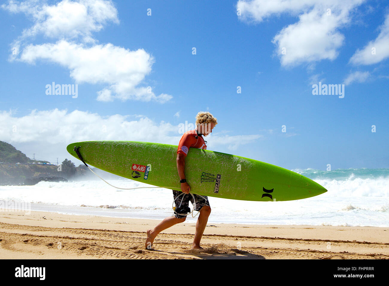 Haleiwa, Hawaii, USA. 25th February, 2016. February 25, 2016 - John Florence gets ready for his heat during the - Stock Image
