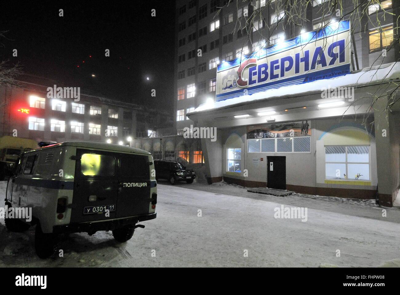 Vorkuta, Russia. 25th Feb, 2016. The Severnaya coal mine of the Vorkutaugol coal producer where a rock burst occurred. Stock Photo