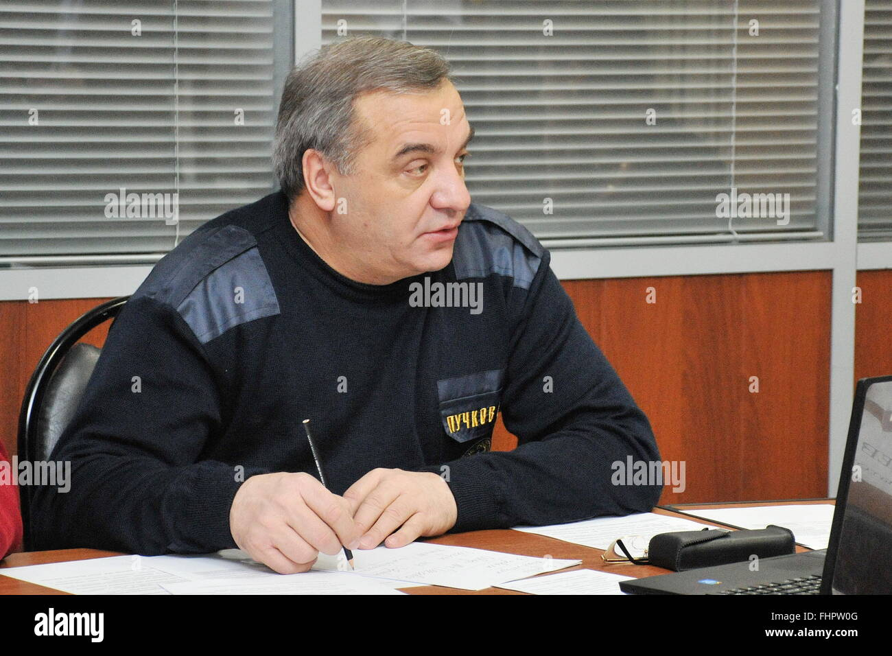 Vorkuta, Russia. 25th Feb, 2016. Russian Emergency Situations Minister Vladimir Puchkov seen during a field meeting Stock Photo