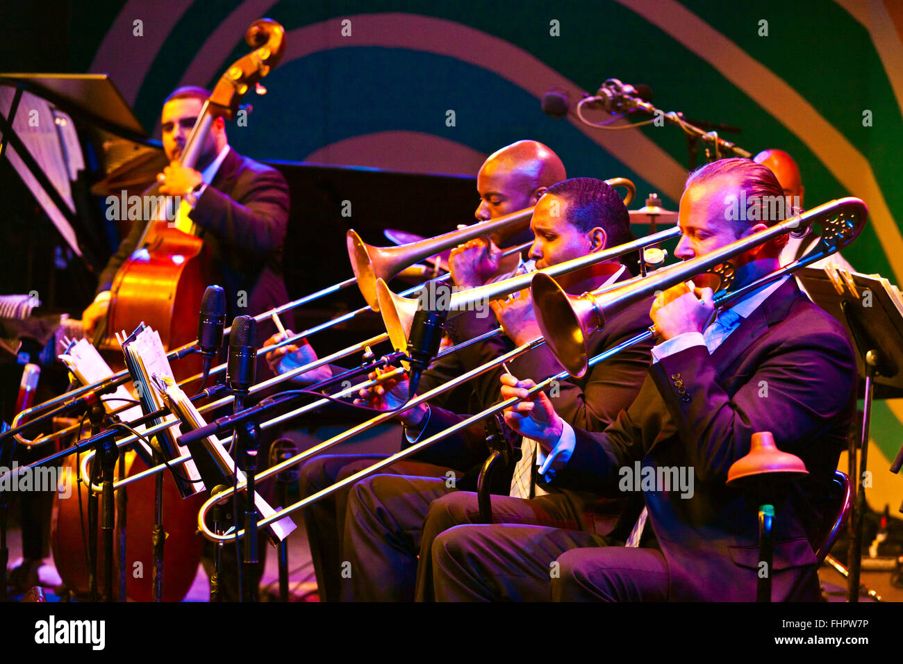 Wynton Marsalis and the Lincoln Center Orchestra perform at the 58th Monterey Jazz Festival - California - Stock Image